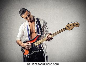 uomo, gioco, su, chitarra