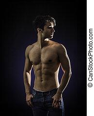 uomo, giovane, bello, adattare, jeans, shirtless