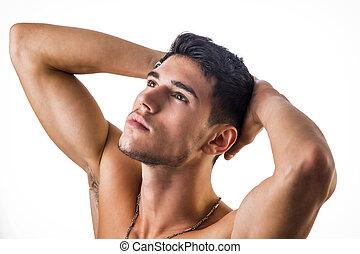 uomo, giovane, bello, isolato, adattare, shirtless