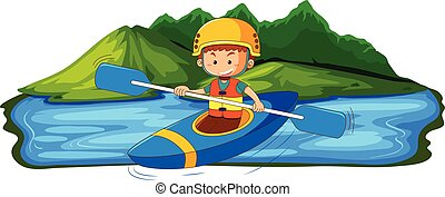uomo, giovane, canoismo, lago