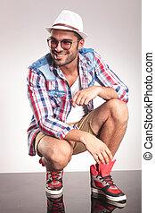 uomo, giovane, sorridente, immagine, moda
