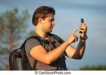 uomo, giovane, turista