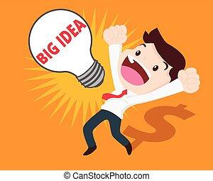 uomo grande, idea, affari, ottenere