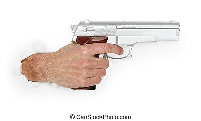 uomo, grande, tenendo mano, pistola, argento