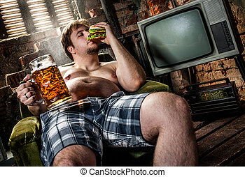 uomo grasso, mangiare, hamburger