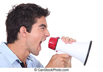uomo, grida, in, uno, megafono