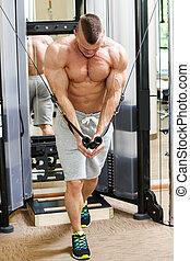 uomo, gym., allenamento, bello, durante
