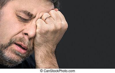 uomo, headache., mano, chiuso, faccia