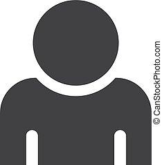 uomo, icona, in, nero, su, uno, bianco, fondo., vettore, illustrazione