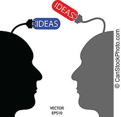 uomo, idea, affari, addebitare