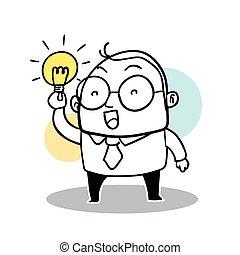 uomo, idea, affari, ottenere