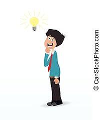 uomo, idea, cartone animato