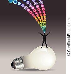 uomo, idea, concetto, lightbulb