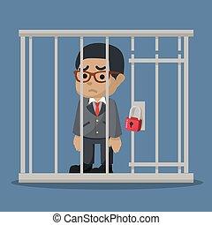 uomo, imprigionato, affari, prendere
