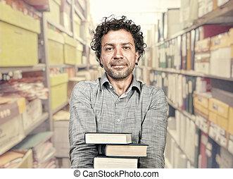 uomo, in, biblioteca