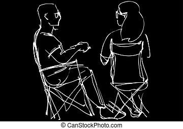 uomo, in, occhiali, e, uno, donna, riposare, seduta, su, pieghevole, sedie