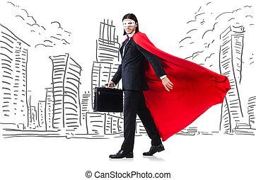 uomo, in, rosso, coperchio, con, skyscapers, a, il, fondo