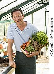 uomo, in, serra, presa a terra, cesto, di, verdura, sorridente