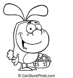 uomo, in, un, costume coniglietto pasqua
