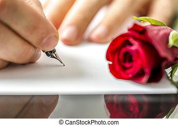 uomo, innamorato, suo, scrittura lettera