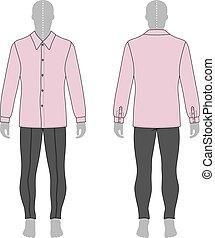 uomo, jeans, camicia, &