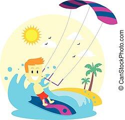 uomo, kitesurfing, godere