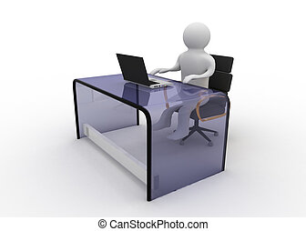 uomo,  laptop,  computer, lavorativo,  3D