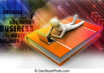 uomo, laptop, libro, dire bugie, 3d