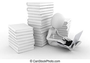 uomo, laptop, suo, lavorativo, 3d