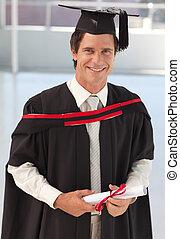 uomo, laureandosi, da, università