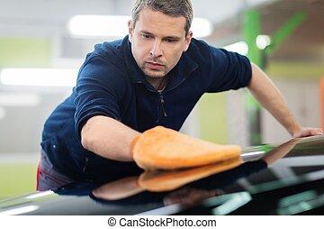 uomo, lavoratore, lucidatura, automobile, su, uno, lavaggio i automobile