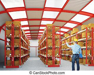 uomo, lavoro, in, magazzino