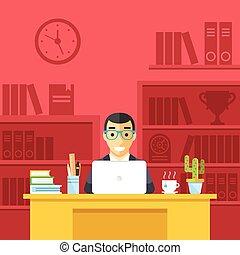 uomo, lavoro, ufficio, felice