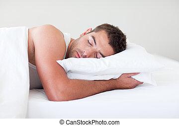 uomo, letto, in pausa