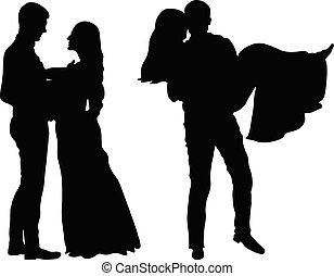 uomo, leva piedi, davanti, donna ed uomo, presa a terra, woman., il, recente sposò, coppia, silhouette.