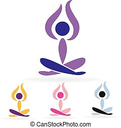 uomo, logotipo, set, yoga
