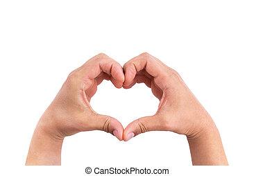 uomo, mani, forma, di, amare cuore