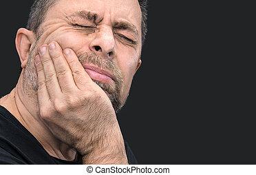 uomo, mano, toothache., chiuso, faccia
