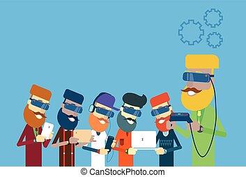 uomo, mensola, tavoletta, laptop, usura casuale, telefono, digitale, gruppo, presa, remoto, far male, occhiali