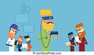 uomo, mensola, telefono, persone, bolla, tavoletta, laptop, indossare, chiacchierata, digitale, gruppo, presa, tecnologia, remoto, far male, occhiali