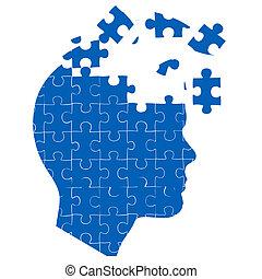 uomo, mente, con, jigsaw confondono