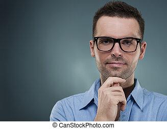 uomo, mento, attraente, occhiali, mano