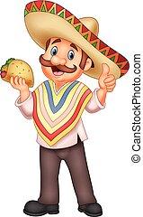 uomo, messicano, presa a terra, taco