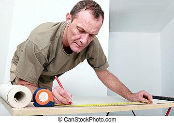 uomo, misurazione, carta da parati