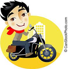 uomo, motocicletta, giovane