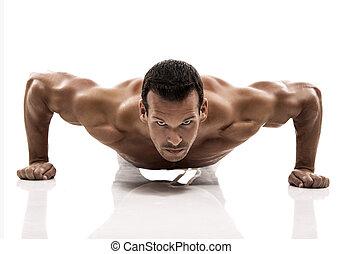 uomo muscolo, dmaking, spinta, ups, in, studio, isolato, sopra, uno, sfondo bianco
