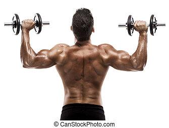 uomo muscolo, in, studio, pesi sollevamento, isolato, sopra, uno, sfondo bianco