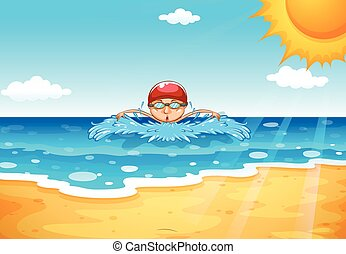 uomo, nuoto, in, il, oceano