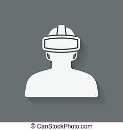 uomo, occhiali, realtà virtuale