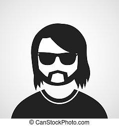 uomo, occhiali, simbolo